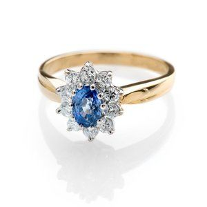 Ceylon sapphire & diamond Yellow gold 14k 2.50 ct